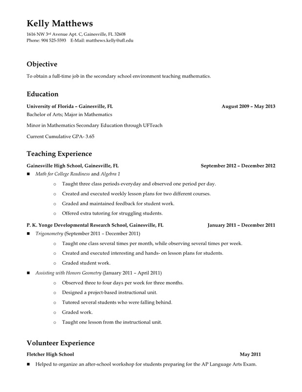 current resume and professional development teaching